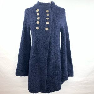 Free People navy fuzzy military cardigan, Small